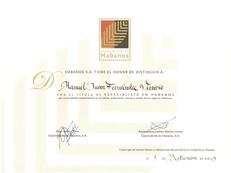 Diploma especialistas en Habanos