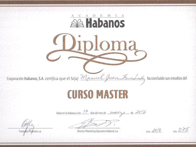 Diploma master en Habanos